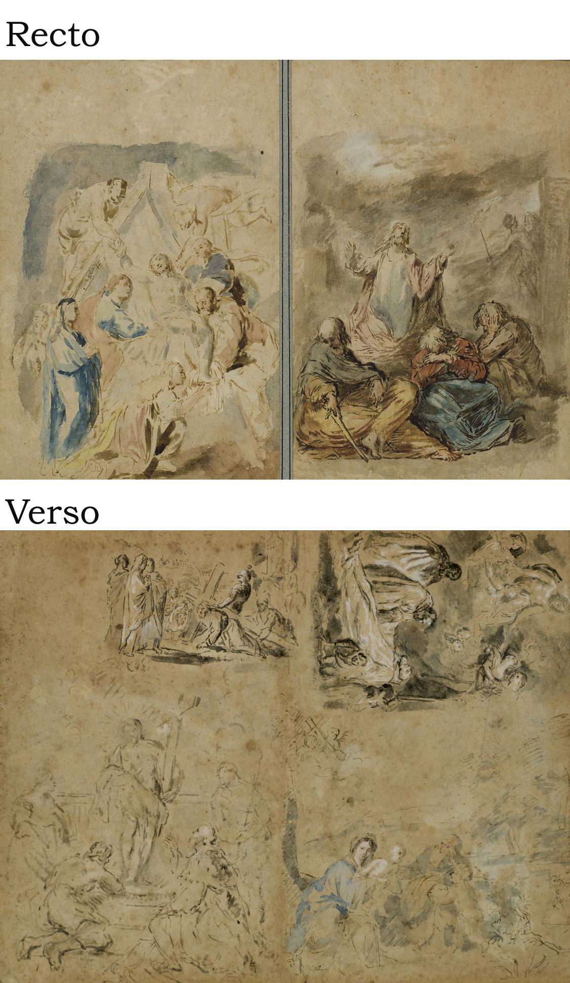 Déposition de Croix, Christ au Jardin des Oliviers (recto); Le Portement de Croix, La mort d'un saint, Apparition du Christ, Repos de la Sainte Famille (verso)