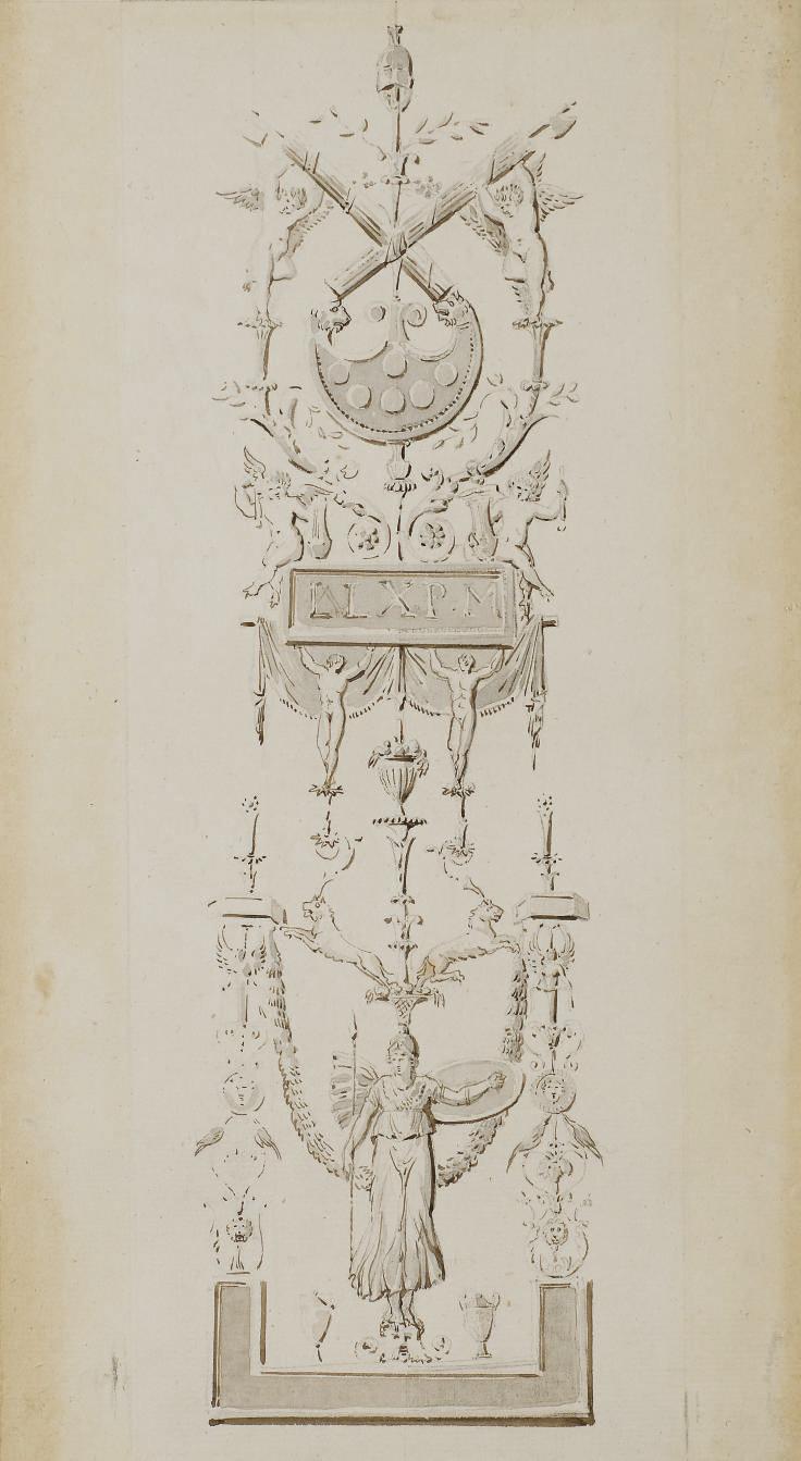 Dessin d'ornement avec les armes papales