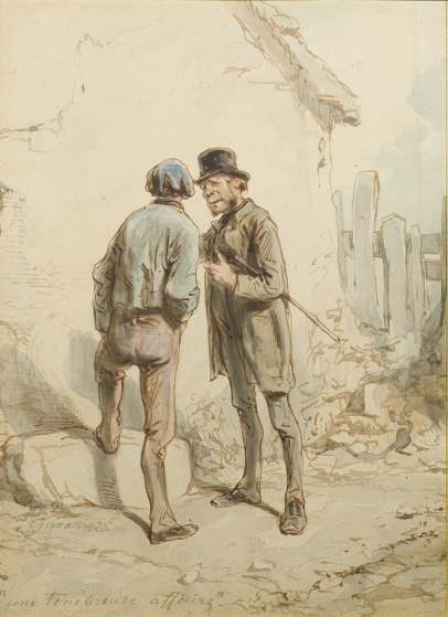 PAUL GAVARNI (1804-1866) Une ténébreuse affaire (recto); et Esquisse de buste d'homme (verso)