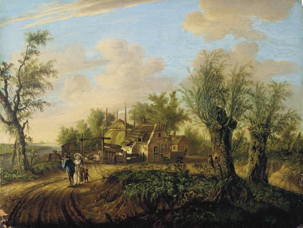 Un arbre au bord d'un chemin animé; et Couple avec un enfant aux abords d'une ferme