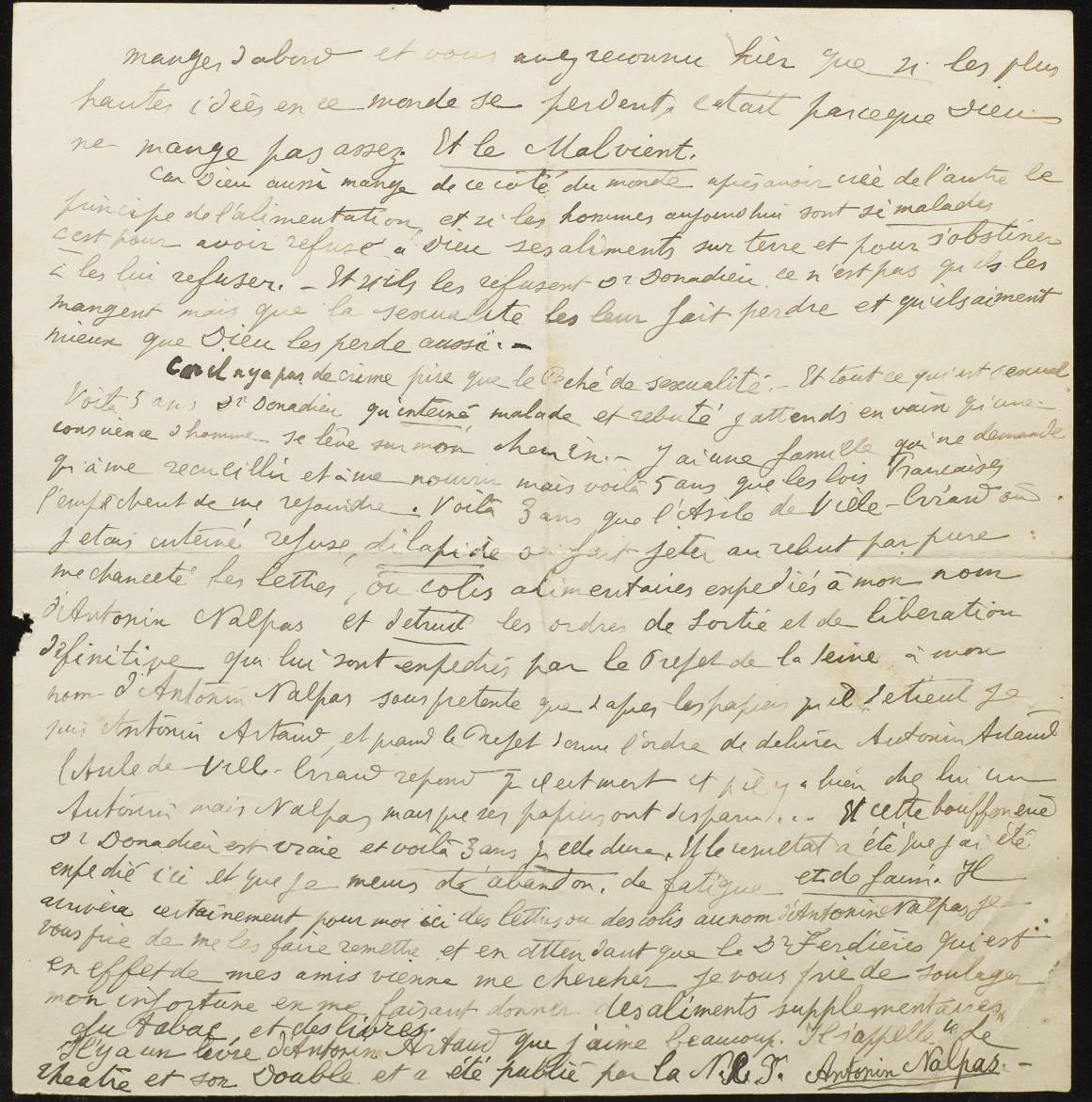 """ARTAUD, Antonin (1896-1948). Deux lettres autographes signées """"Antonin Nalpas"""" adressées au docteur Donnadieu, médecin-chef de l'hôpital psychiatrique de Chezal-Benoît."""