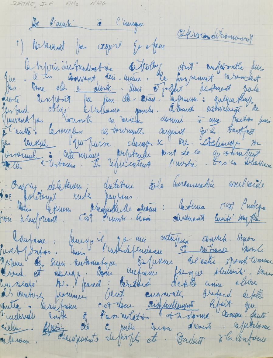 SARTRE, Jean-Paul (1905-1980). De l'unité à l'unique. Manuscrit autographe, non signé.