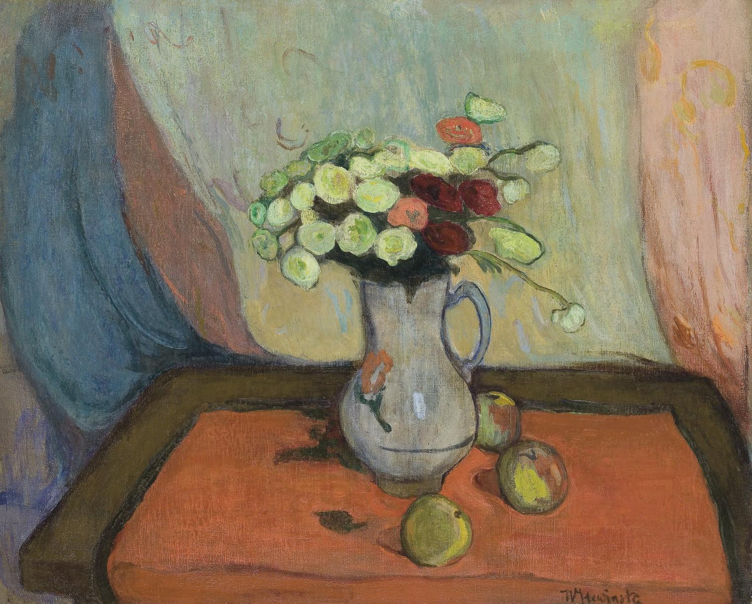 Vase de fleurs avec trois pommes
