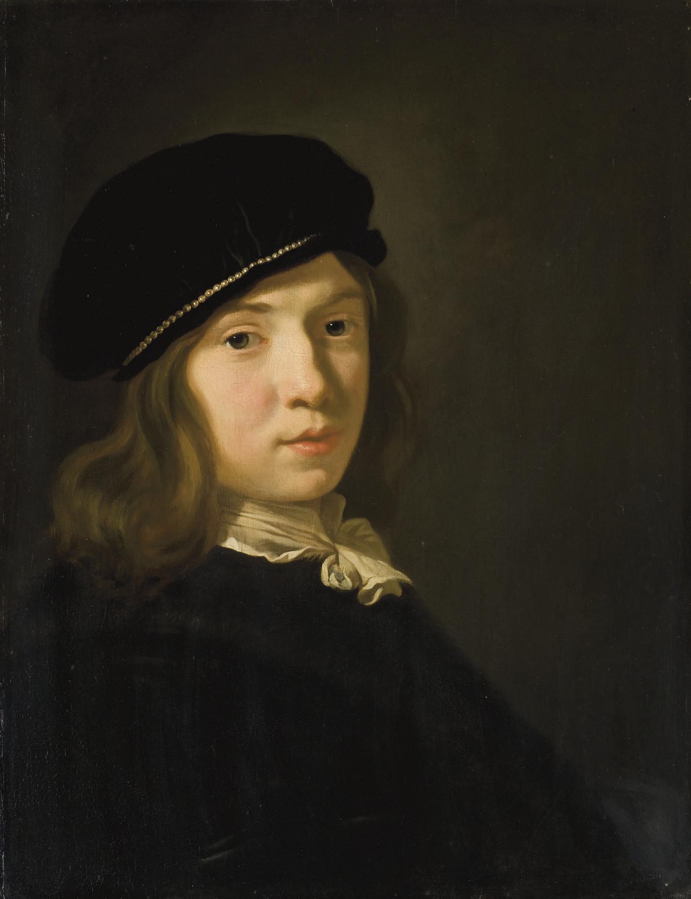 Portrait d'un jeune garçon à la toque ornée de perles