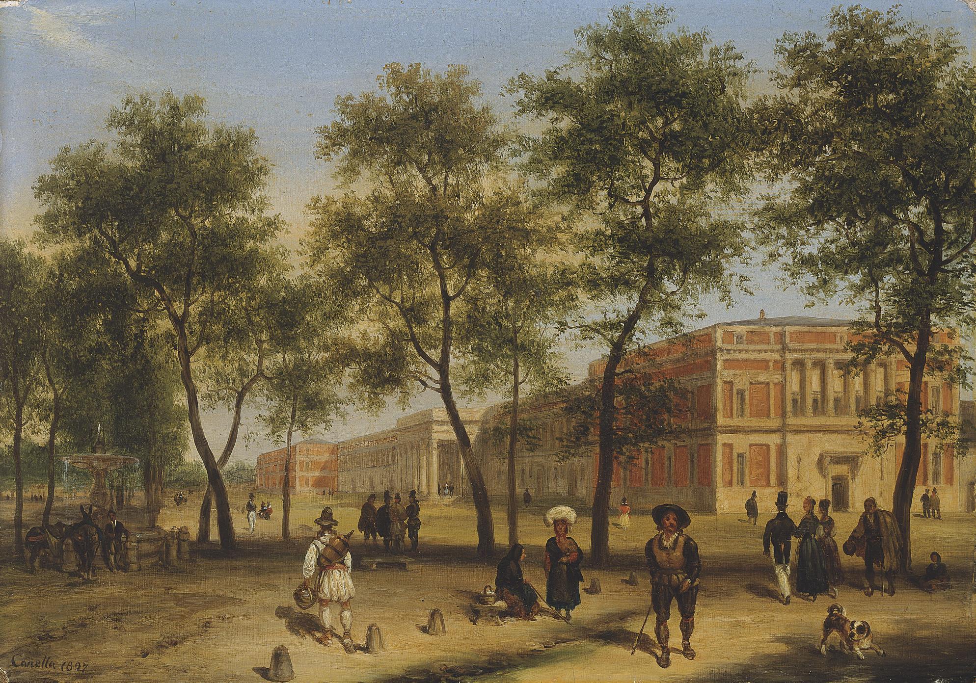 Vue présumée du Paseo del Prado avec le musée du Prado à Madrid