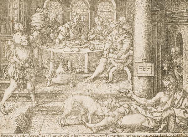 Lazare couché à la Porte du Mauvais Riche, demande seulement les miettes qui tombent de sa table (Bartsch VIII, 45)