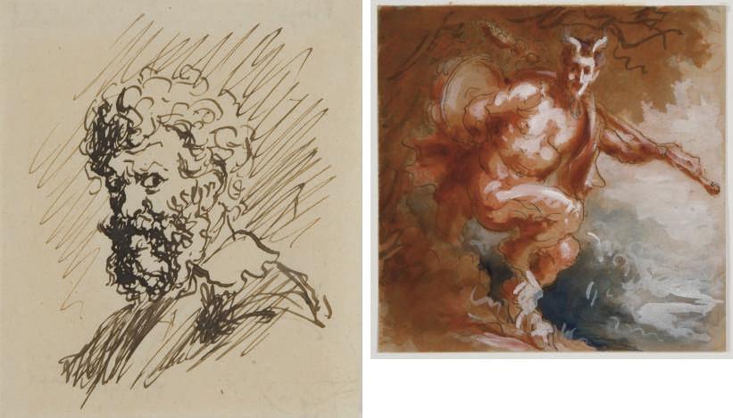 Etude de huit têtes de profil, dont deux de faunes; Faune dansant dans un paysage; Vieil homme de profil, consultant un livre; Profil de vieil homme; Autoportrait présumé