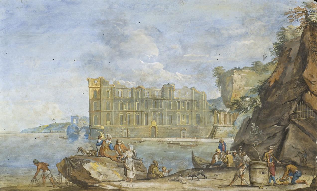 Vue du Palais Donn'Anna à Mergellina avec des pêcheurs et des paysans au premier plan