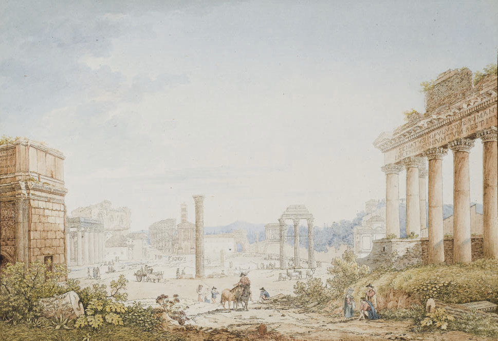 Vue du Forum romain avec l'arc de Septime Sévère à gauche, le temple de Saturne à droite et le Colisée à l'arrière-plan