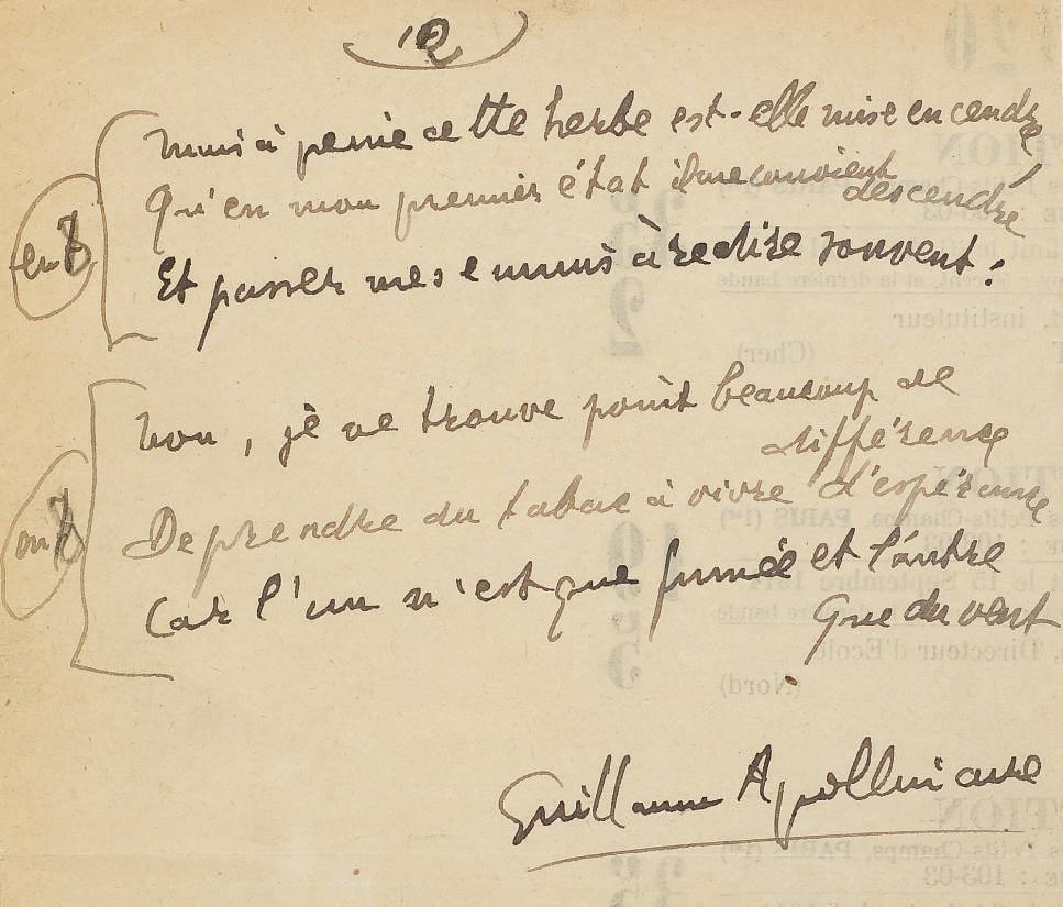 """APOLLINAIRE, Guillaume (1880-1918). """"La Vie anecdotique. 'Hymne de la Société des Nations'. Le Tabac."""" Manuscrit autographe signé. 12 feuillets (225 x 138 mm), recto, encre brune. S.d. [ca. 15 août 1918]."""