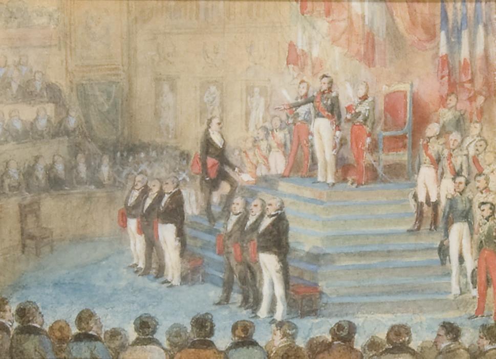 Le serment du Roi Louis-Philippe devant les Chambres le 9 août 1830