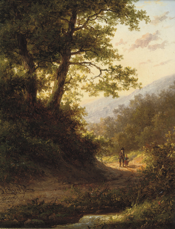 Walking in the forest at sunset; and Resting under a tree