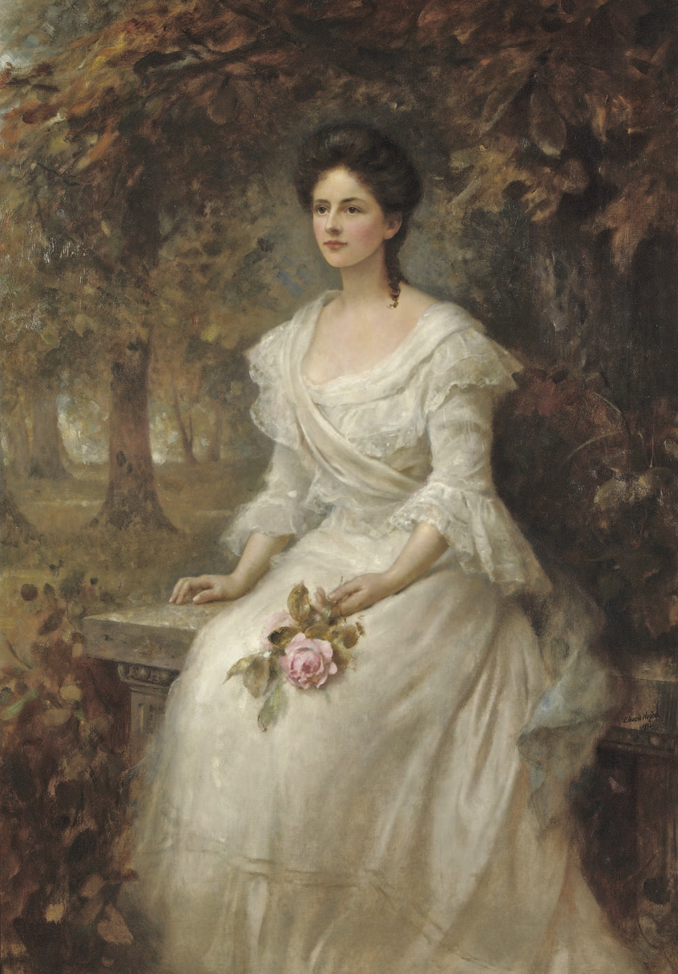 Portrait of a lady holding a pink rose