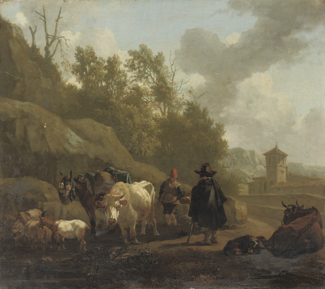 A cowherd and cattle in an Italianate landscape