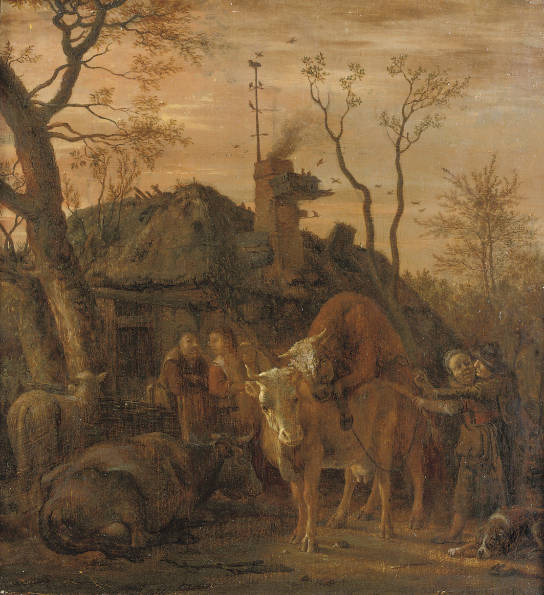 A tethered bull covering a cow in a farmyard
