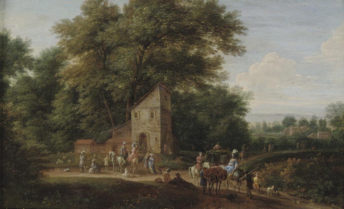 A wooded landscape with elegant company on horseback