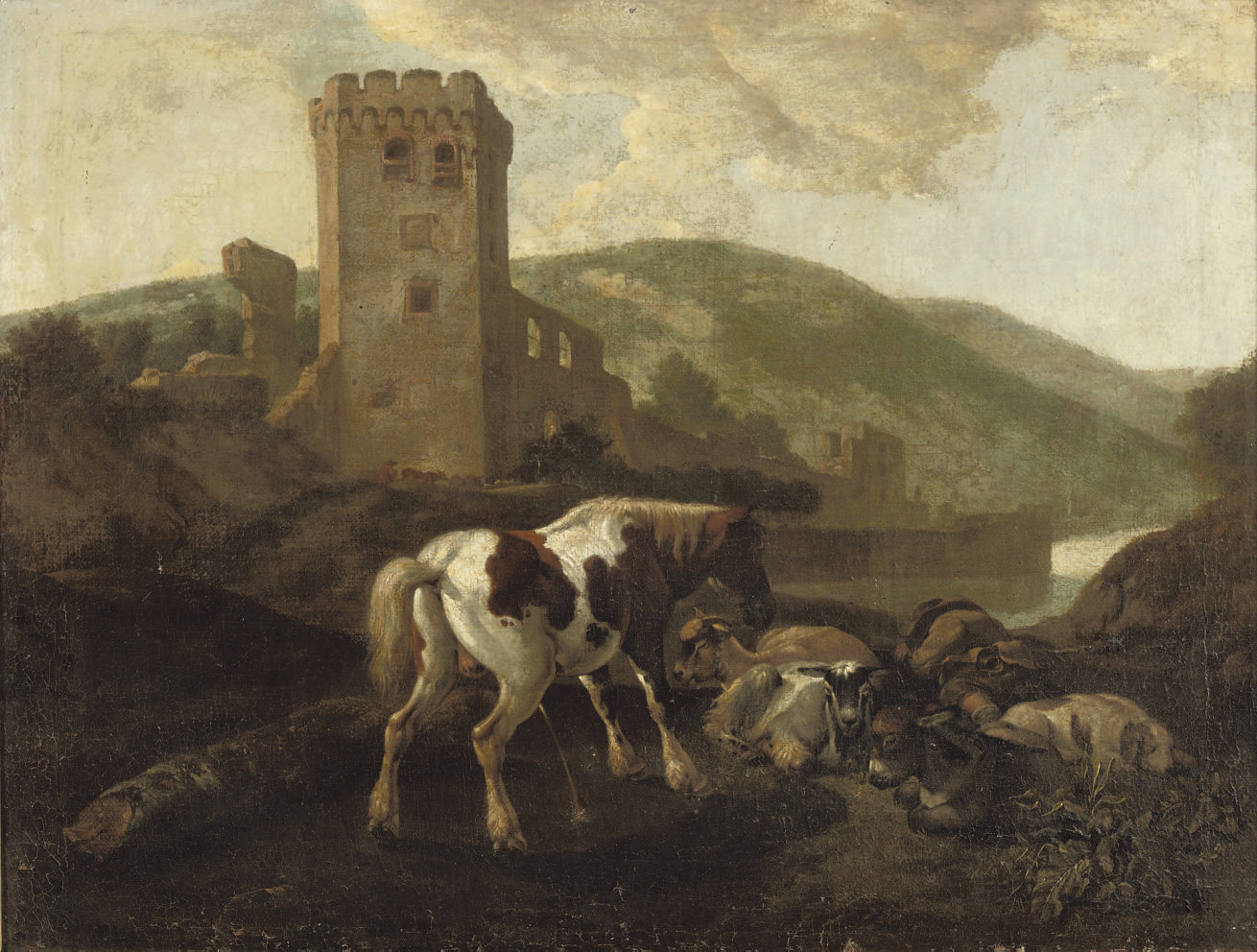 A horse, donkey, goats, dog and sleeping shepherd in front of a ruin