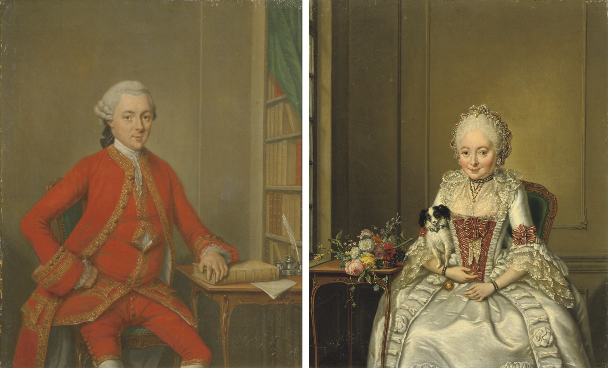 Portrait of gentleman said to be Hendrik de Roo, three-quarter-length, in a red costume and wig; and Portrait of a lady said to be Hester Constantia de Witt, three-quarter-length, in a white satin dress