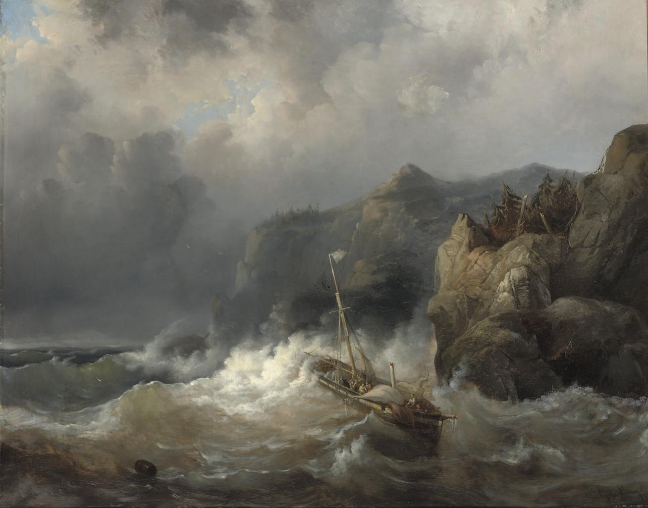 A shipwreck of a rocky coast