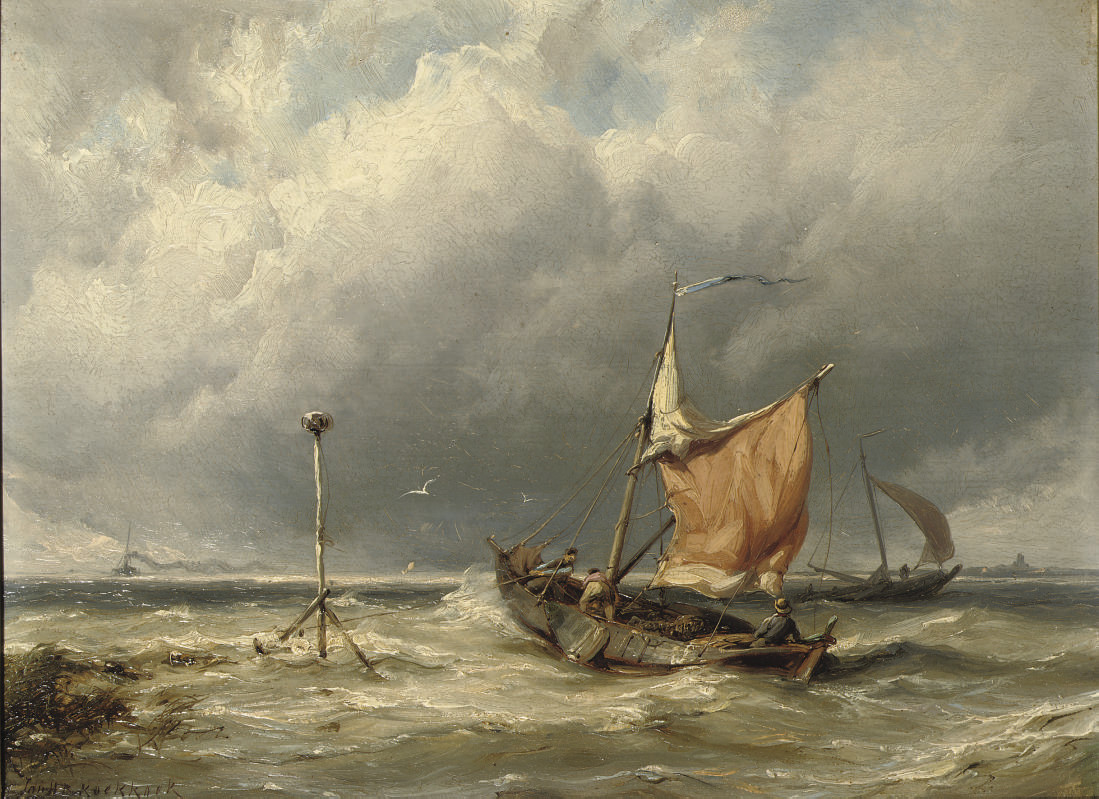 Fishermen in rough weather