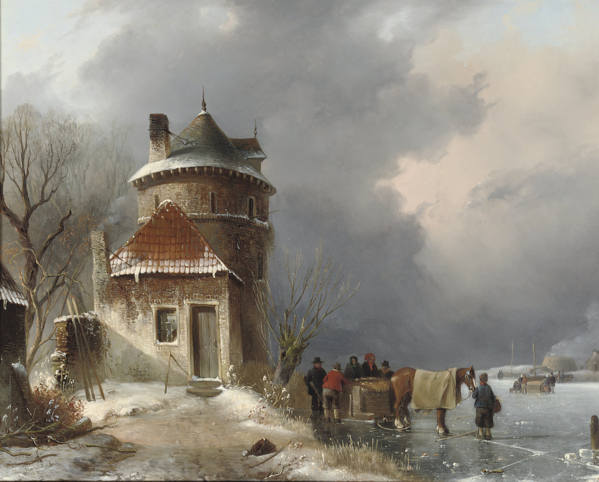 A winter landscape with a horse-drawn sleigh