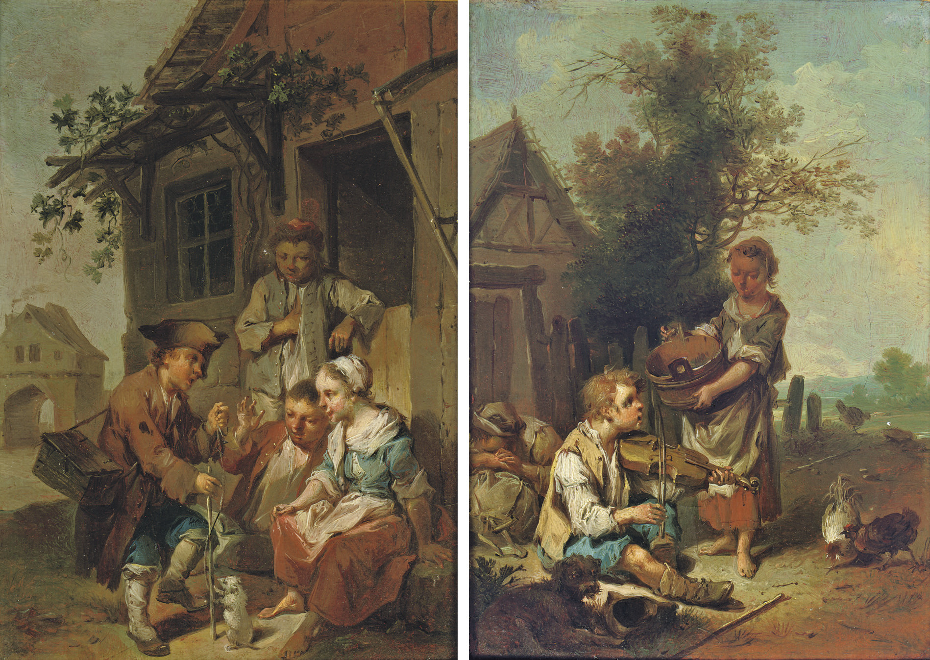 A boy musician with a washer girl; and A street vendor with peasant children