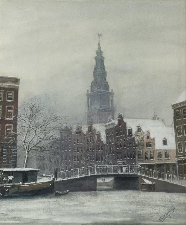 Wintersday in Amsterdam, the Zuidertoren beyond