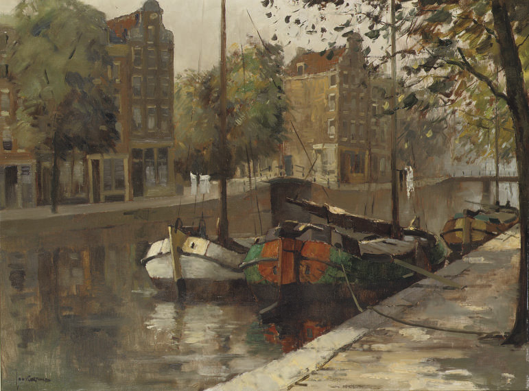 Moored boats in an Amsterdam canal