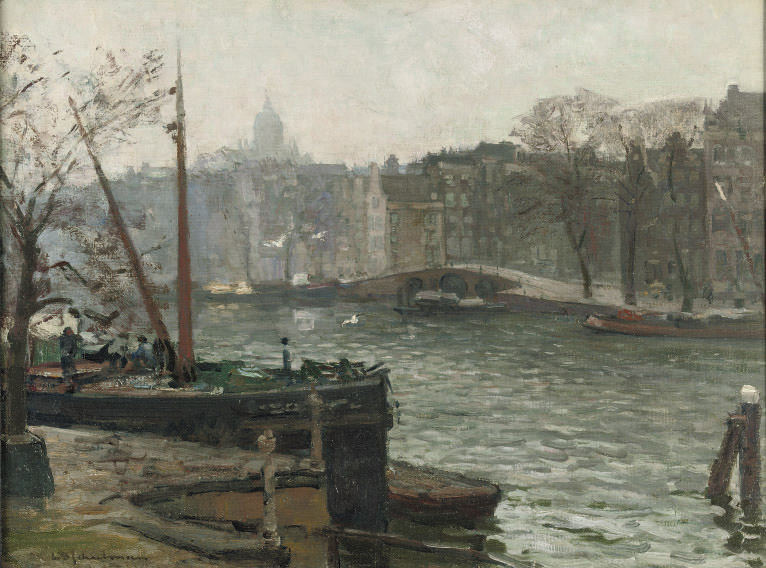 A view of a canal in Amsterdam