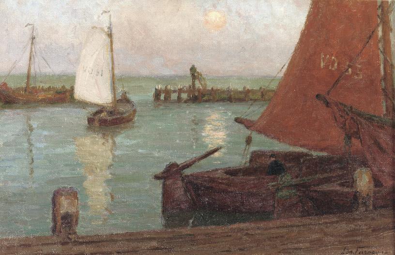 Le port à Volendam: boats in the harbour of Volendam by night