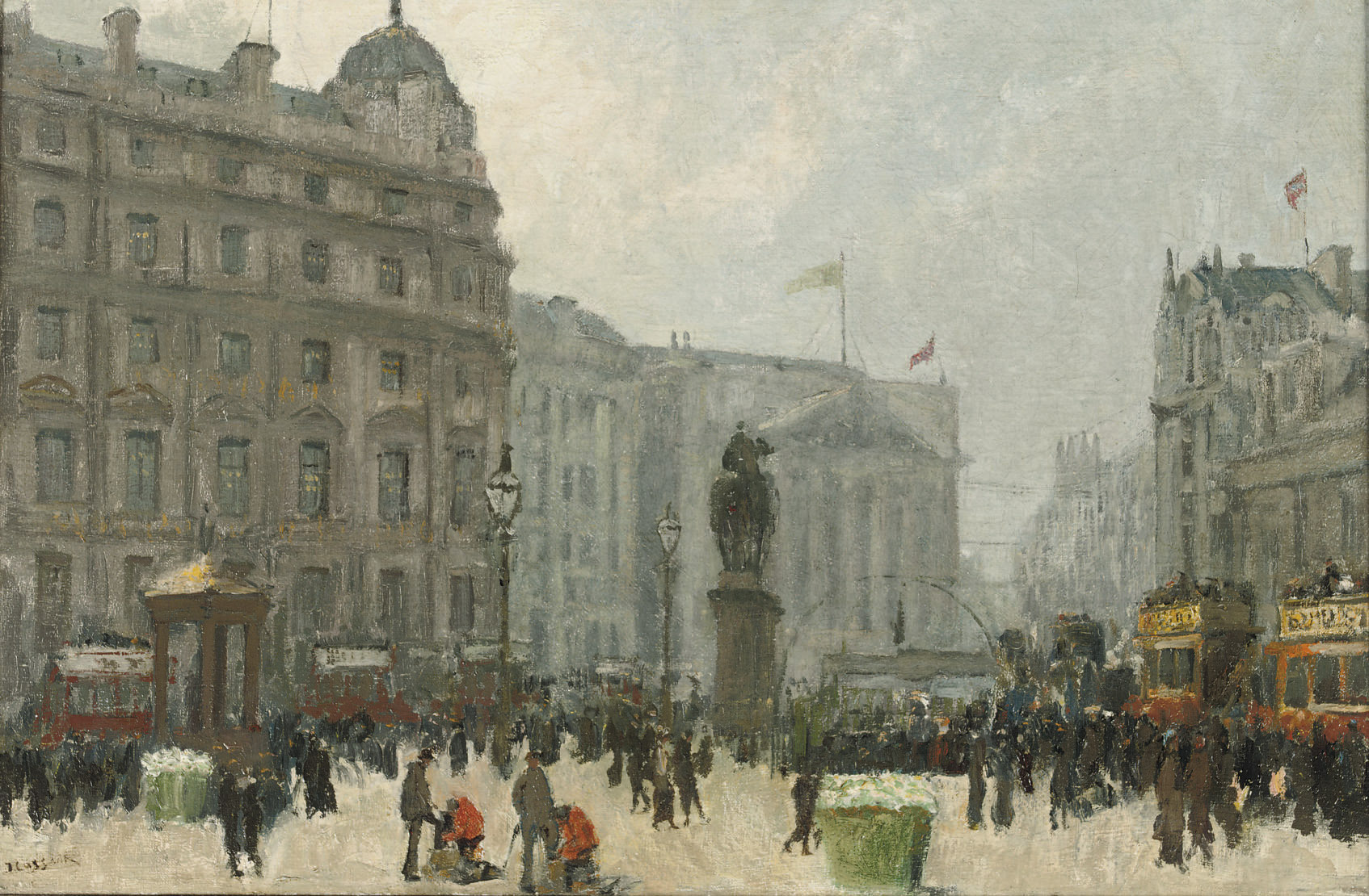A view from Trafalgar Square towards Whitehall, London