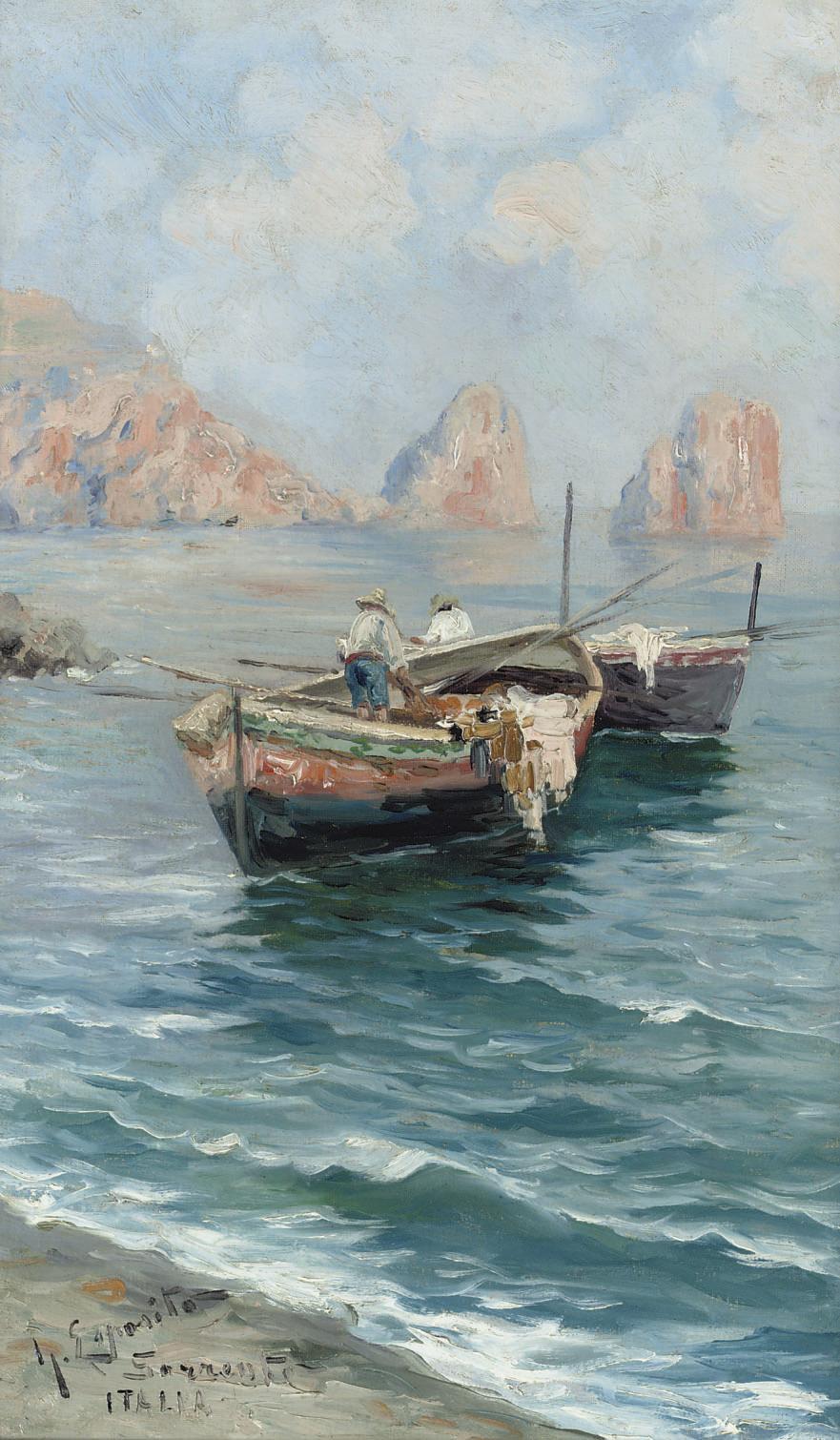 Sorrento, Italia: fishing boats in the bay of Naples