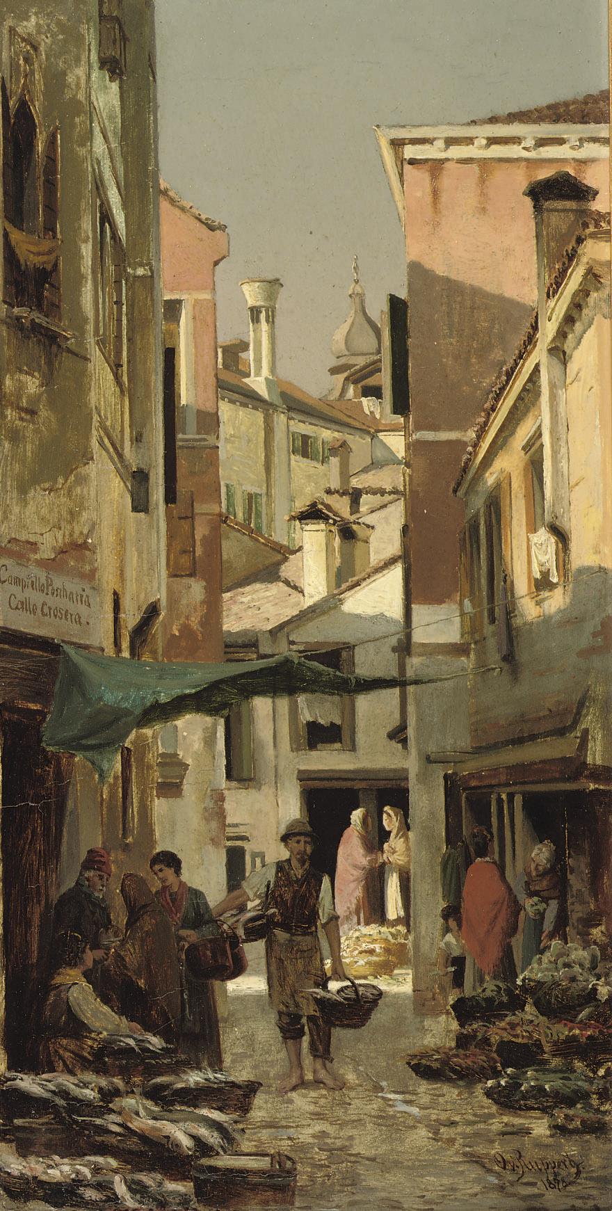 Market at the corner of Calle Crosera and Campiello Pescheria, Venice