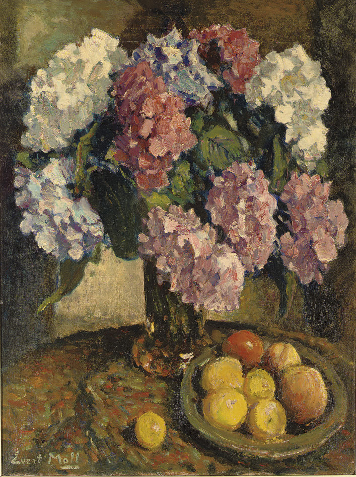 Colourful Hydrangeas and fruits on a table