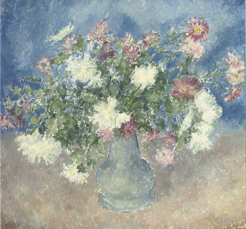 A still life with white and pink flowers in a blue vase