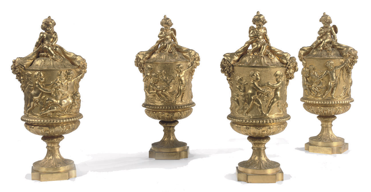 TWO PAIRS OF FRENCH ORMOLU VASES