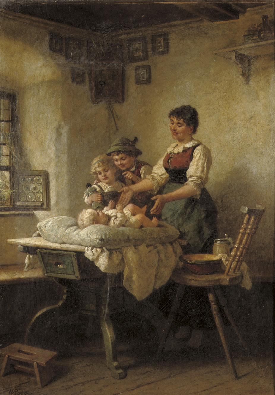 Admiring the newborn