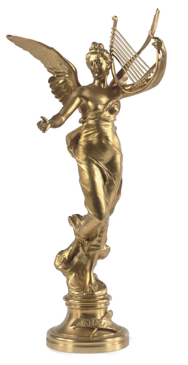 A FRENCH GILT BRONZE FIGURE OF A WINGED LADY WITH A LYRE ENTITLED 'L'INSPIRATION'