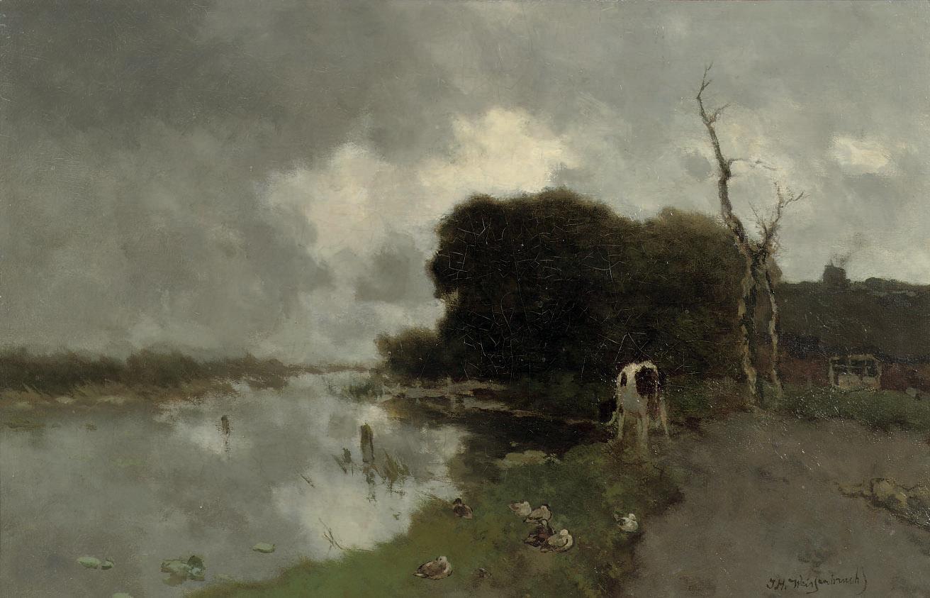 Koe aan het water: animals by a stream, Noorden