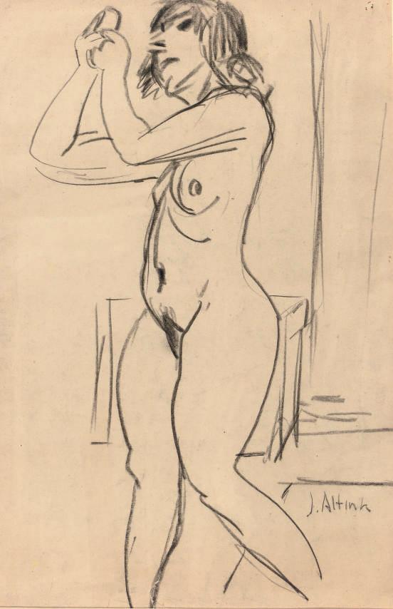 Beppie (recto); a sketch of a nude (verso)