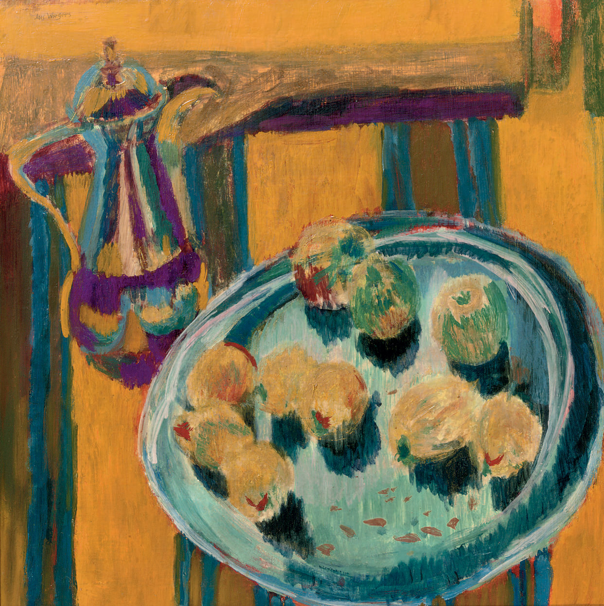 A still life with a coffeepot and fruits on a tray