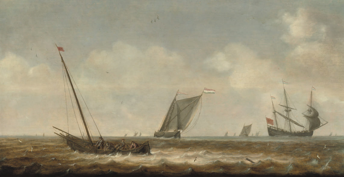 Fishermen in a 'smalschip' drawing in their nets, other shipping beyond