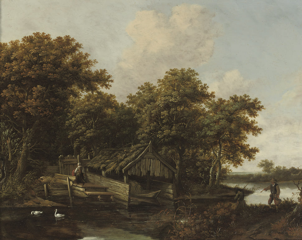 A river landscape with fishermen on the riverbank