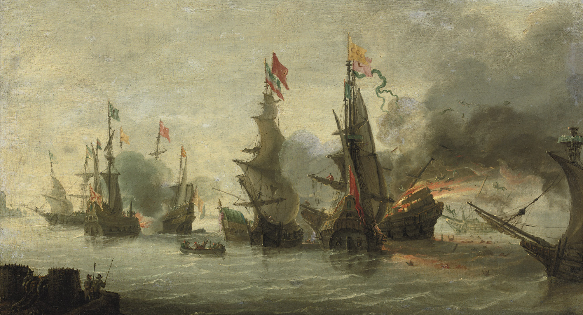 A naval engagement between the Christians and the Turks