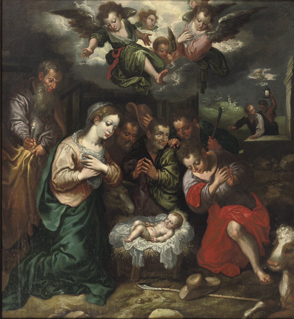 The Adoration of the Shepherds with the Annunciation to the Shepherds beyond