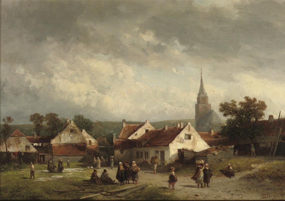 A view of Scheveningen with figures strolling