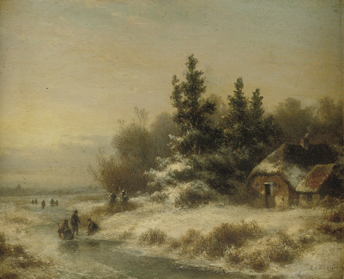 Figures on a frozen waterway near a farmhouse