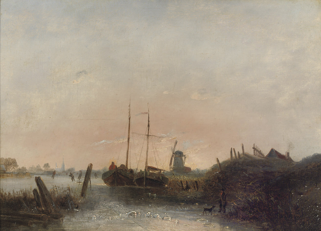 Moored boats on a frozen river