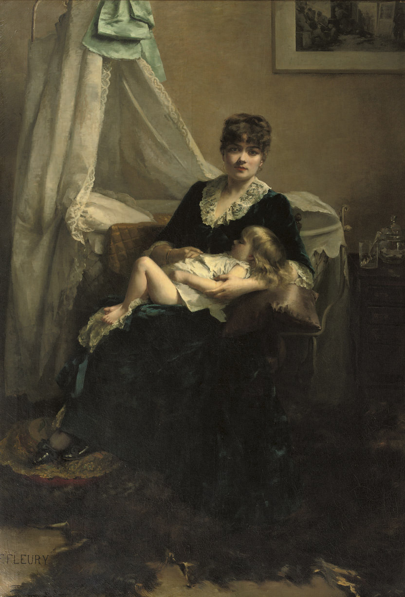 An elegant lady in an interior with sleeping child