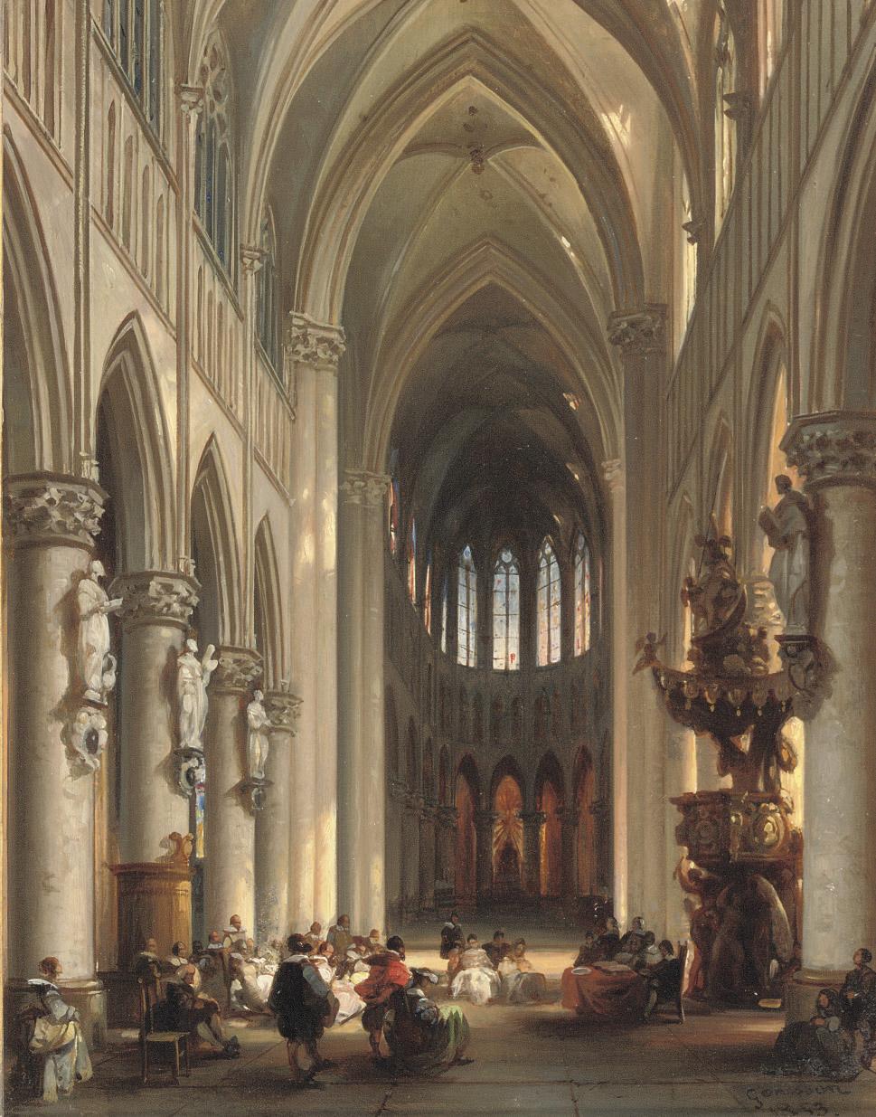 A gathering in a sunlit church